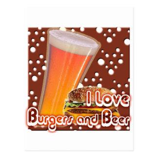 J'aime les hamburgers et la bière Brewskies Carte Postale