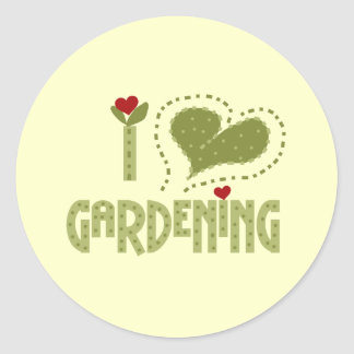 J'aime les T-shirts et les cadeaux de jardinage Sticker Rond