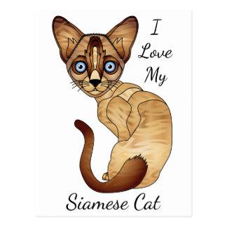 J'aime ma carte postale de chat siamois