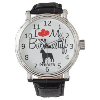 J'aime ma montre de race de chien de Bullmastiff Montres