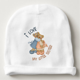 J'aime mes ours de petite soeur bonnet pour bébé