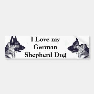 J'aime mon berger allemand autocollant de voiture