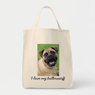 J'aime mon bullmastiff fourre-tout sac en toile épicerie