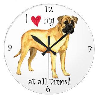 J'aime mon Bullmastiff Grande Horloge Ronde