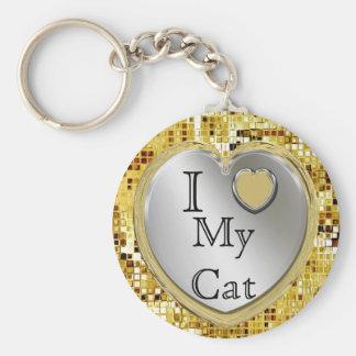 J'aime mon chat ou ? Porte - clé de coeur Porte-clés