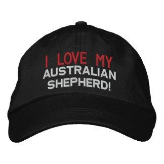 J'aime mon chien de berger australien casquette de baseball brodée