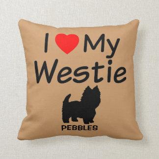 J'aime mon coussin de chien de Westie