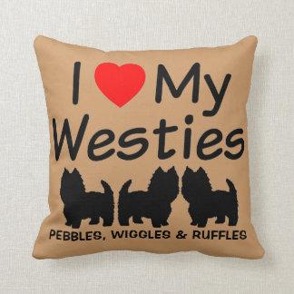 J'aime mon coussin de trois chiens de Westie