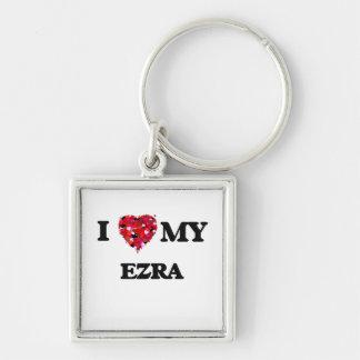 J'aime mon Ezra Porte-clé Carré Argenté