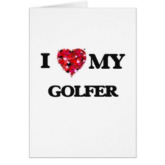 J'aime mon golfeur carte de vœux