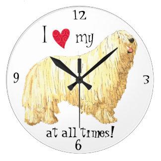 J'aime mon Komondor Grande Horloge Ronde