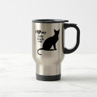 J'aime mon petit chat noir mug de voyage en acier inoxydable