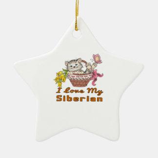 J'aime mon Sibérien Ornement Étoile En Céramique