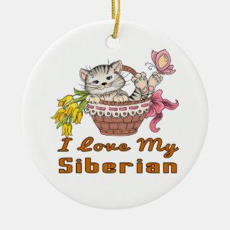 J'aime mon Sibérien Ornement Rond En Céramique