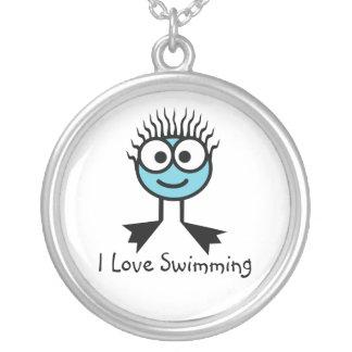 J'aime nager - caractère bleu-clair Necklac de Pendentif