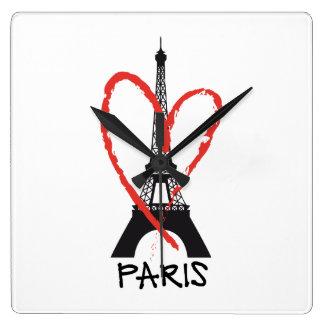 J'aime Paris avec Tour Eiffel Horloge Carrée