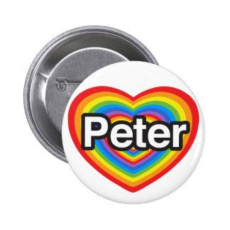 J'aime Peter. Je t'aime Peter. Coeur Pin's Avec Agrafe