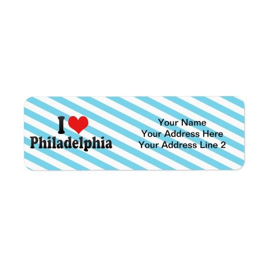 J'aime Philadelphie Étiquette D'adresse Retour