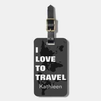 J'aime voyager étiquettes bagages