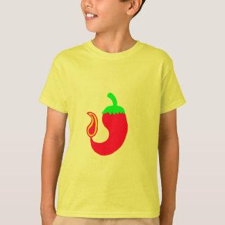 Jalapeno chaud vertical de T-shirt d'enfants