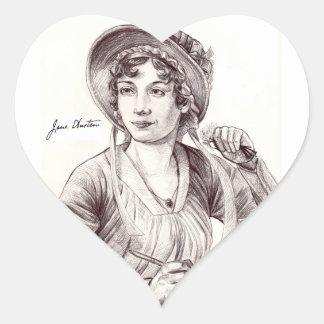 Jane Austen avec un autocollant de coeur de