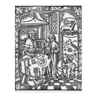 """Janvier, du """"DES Bergers d'Almanach"""", 1491 Carte Postale"""