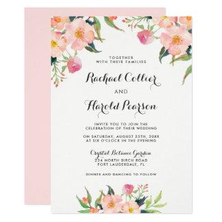 Jardin botanique d'aquarelle de mariage floral carton d'invitation  12,7 cm x 17,78 cm