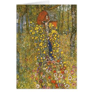 Jardin de ferme de Klimt avec la carte de voeux de