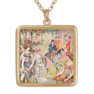 Jardin du plaisir illustré collier plaqué or