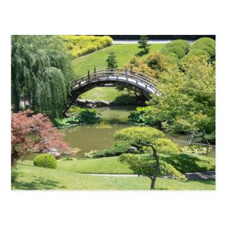 Jardin japonais à la carte postale de bibliothèque