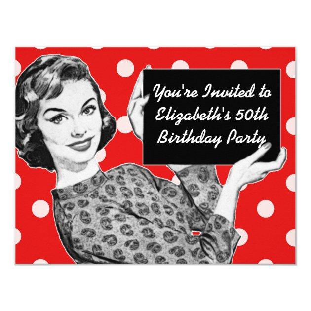 Jaren 50 Vrouw Met Een Verjaardag Van Het Teken Kaart Zazzle Be