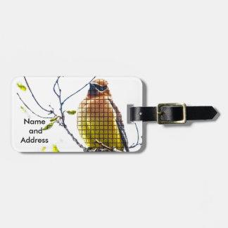 Jaseur de cèdre animal d'oiseau étiquette à bagage