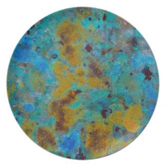 Jaspe bleu repéré de Chrysocolla Assiettes En Mélamine