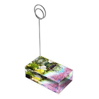 Jaune bleu de fleur de rose de collage de nature porte-carte de table