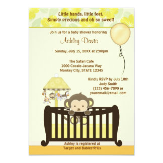 JAUNE CJ-Y de huche d'invitation de baby shower de Carton D'invitation 12,7 Cm X 17,78 Cm