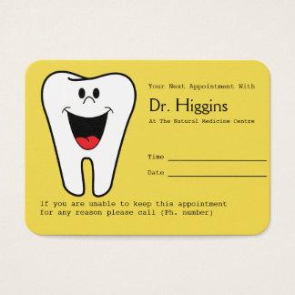 Jaune heureux de rappel de rendez-vous de dentiste cartes de visite