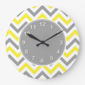 Jaune, motif de zigzag blanc gris du DK grand Grande Horloge Ronde