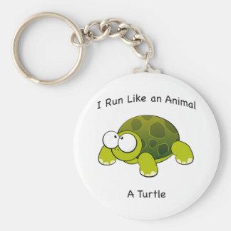 Je cours comme un animal - une tortue porte-clé rond