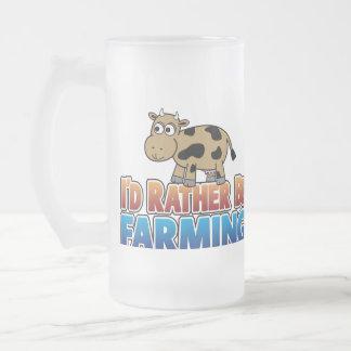 Je cultiverais plutôt - vache laitière de Brown Frosted Glass Beer Mug