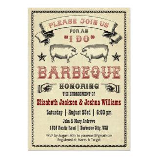 JE FAIS BBQ - invitation vintage de rôti de porc