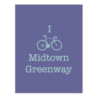Je fais du vélo le Greenway de Midtown Carte Postale