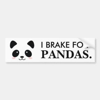 Je freine pour des pandas autocollant de voiture