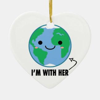 Je suis avec elle - jour de la terre de planète ornement cœur en céramique