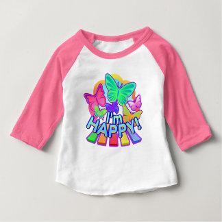Je suis heureux ! T-shirt rose de raglan de bébé