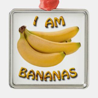 Je suis ornement carré de Noël en métal de bananes