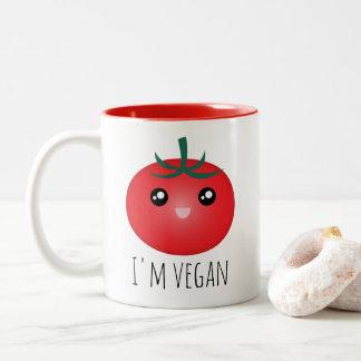 Je suis tomate heureuse mignonne végétalienne tasse 2 couleurs