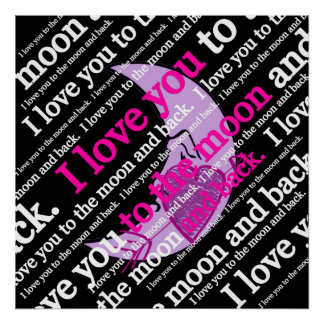 Je t'aime à la lune et à la typographie arrière