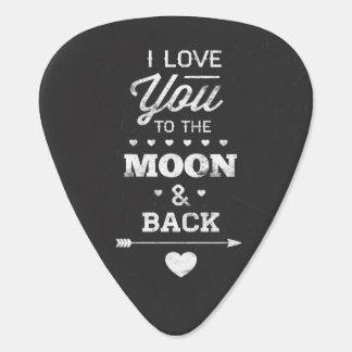 Je t'aime à la lune et au dos onglet de guitare