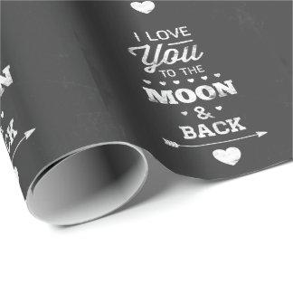 Je t'aime à la lune et au dos papiers cadeaux noël