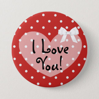 Je t'aime bouton blanc romantique d'arc de points badge rond 7,6 cm